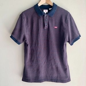 Levi's Men's Blue Collared Striped Polo T-Shirt